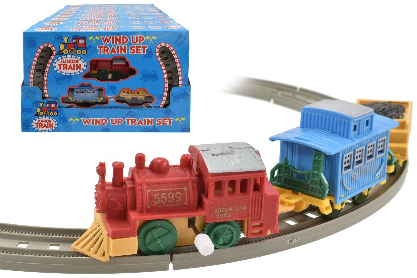 Train Track Set Wind Up Junior Train Set With Carriages For Kids 3 Years +