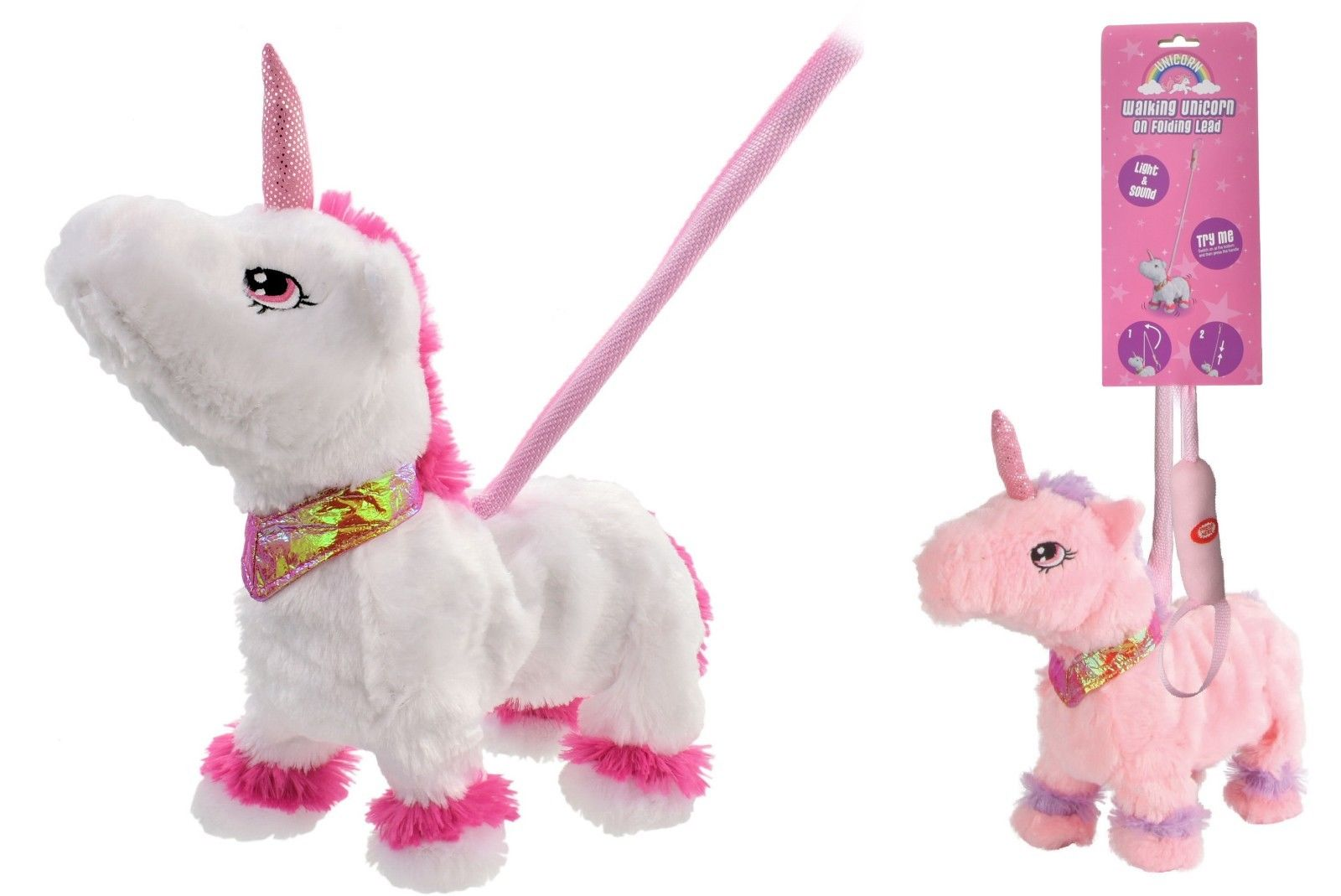 """Walking Unicorn On A Lead """"TRY ME"""" With Sound On Telescopic Lead For Kids"""