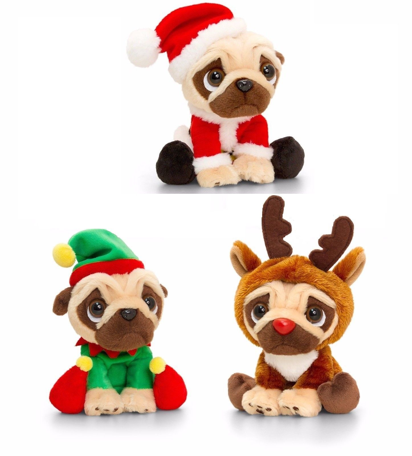 14 or 20cm Christmas Pugsley From Keel Toys ! – Santa – Elf – Reindeer !