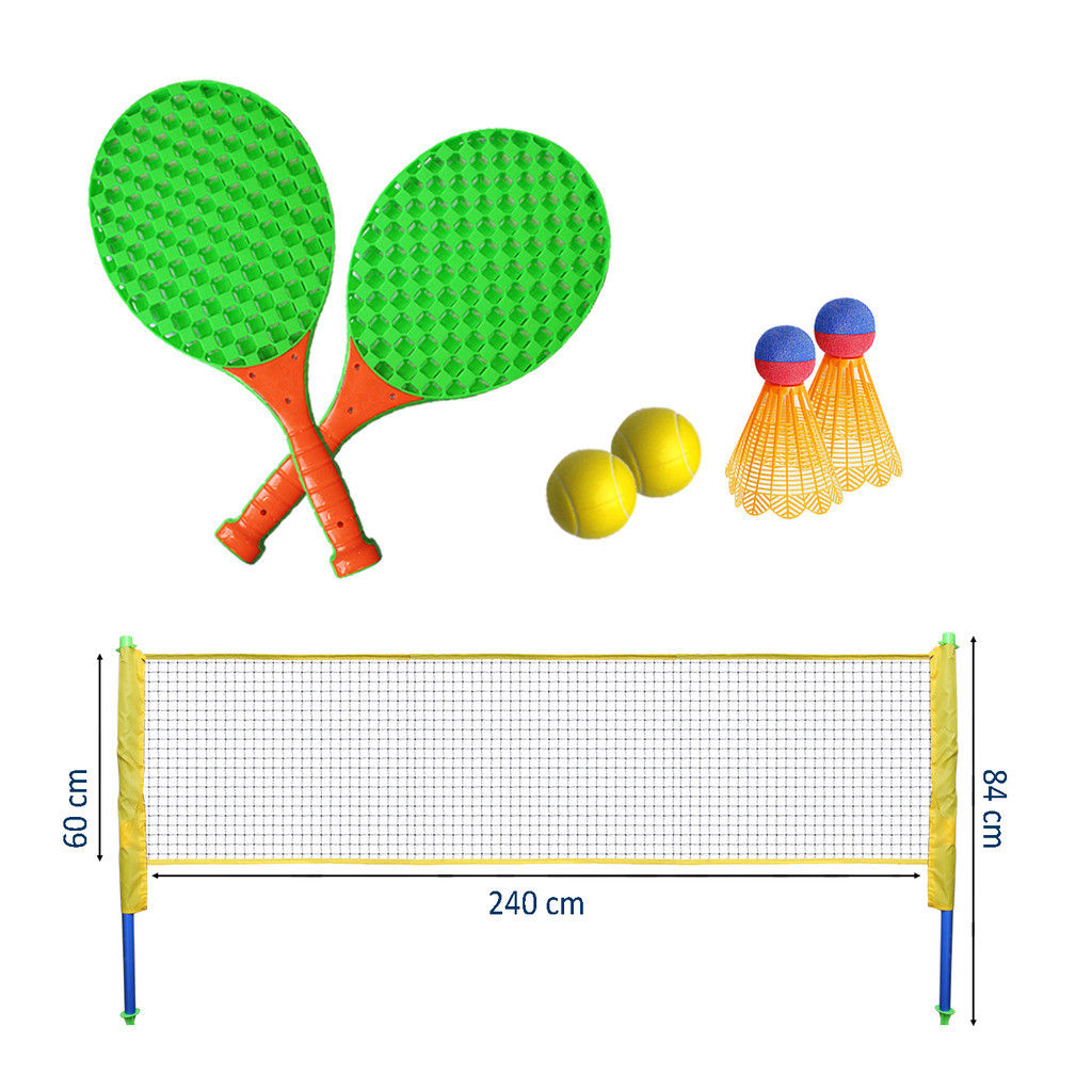Tennis Badminton Set Garden Family Racket Play Fun Game Net Poles Kids Outdoor